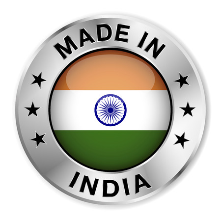 Made in India silver badge and icon with central glossy Indian flag symbol and stars  Vector