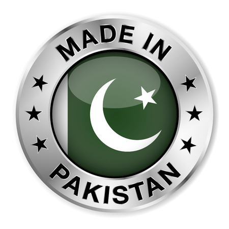 pakistan flag: Made in Pakistan silver badge and icon with central glossy Pakistani flag symbol and stars
