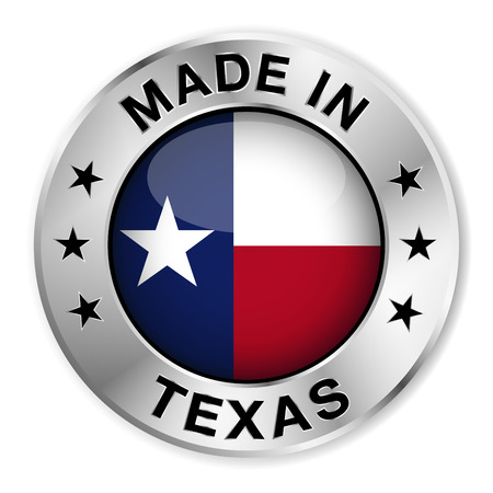 made: Made in Texas silver badge and icon with central glossy Texan flag symbol and stars