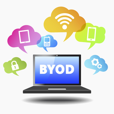 Bring your own device web business concept with byod sign on a laptop computer and technology devices icons and wifi symbol on colorful clouds   Vector