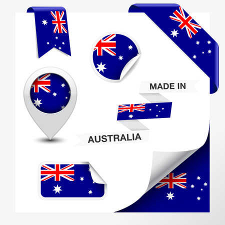 Made in Australia collection of ribbon, label, stickers, pointer, badge, icon and page curl with Australian flag symbol on design element  Ilustrace