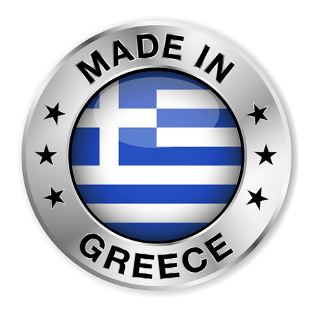greek flag: Made in Greece silver badge and icon with central glossy Greek flag symbol and stars