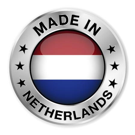 holanda bandera: Hecho en insignia de plata Pa�ses Bajos y el icono con el brillante s�mbolo de la bandera de Holanda central y estrellas