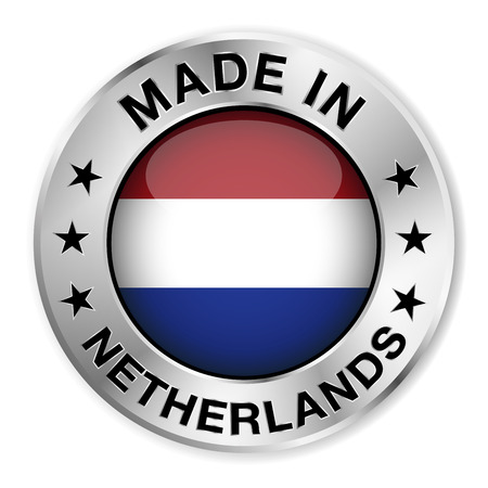 made in netherlands: Made in Netherlands silver badge and icon with central glossy Holland flag symbol and stars   Illustration