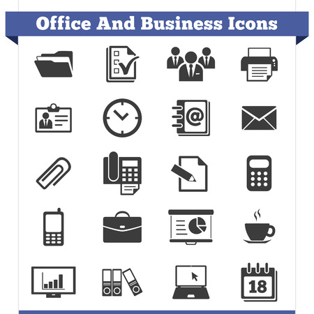 Vector set of office and business related icons, symbol and design elements for website and printed material  Vector