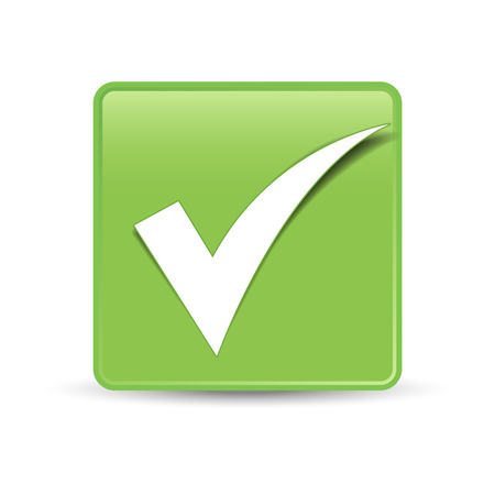 Check mark symbol and icon on green button for approved design concept and web graphic on white background  Illustration