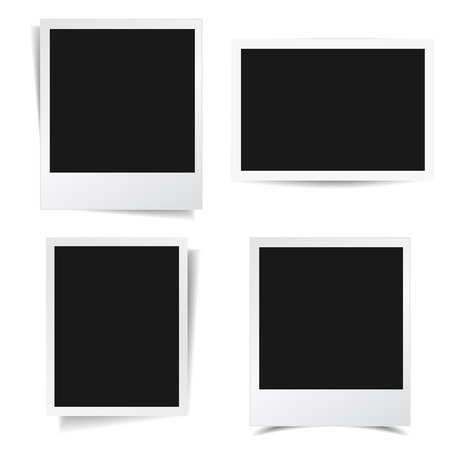black picture frame: Collection of blank photo frames with different shadow effect and empty space for your photograph and picture