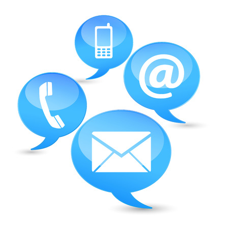 email us: Web and Internet contact us icons and design symbols on blue clouds with glossy effect