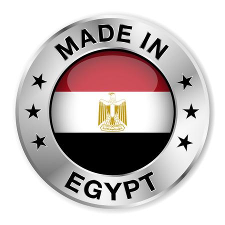 bandera de egipto: Hecho en insignia de plata de Egipto y el icono Vectores