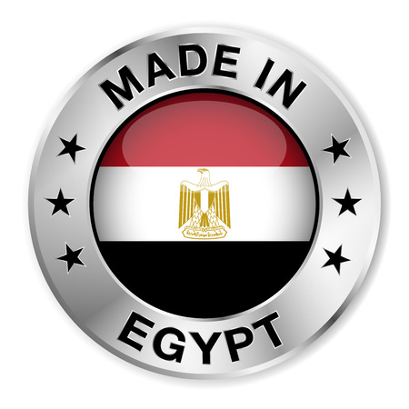 egypt flag: Made in Egypt silver badge and icon   Illustration