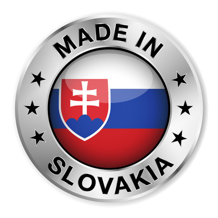 slovakia flag: Made in Slovakia silver badge and icon