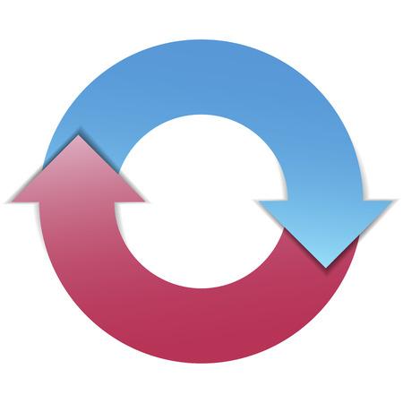 cíclico: Plan de negocios concepto de diseño infográfico con el diagrama de dos flechas de ciclo de vida Vectores