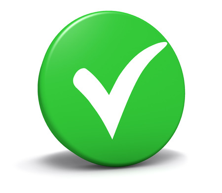 approved button: Check mark symbol and icon on green round button for approved, correct and check list concept and web graphic on white background