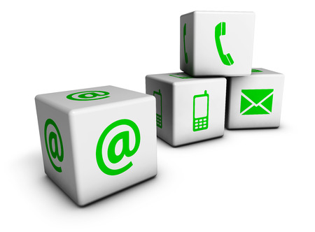 Website and Internet contact us concept with green icons and symbol on four cubes isolated on white background