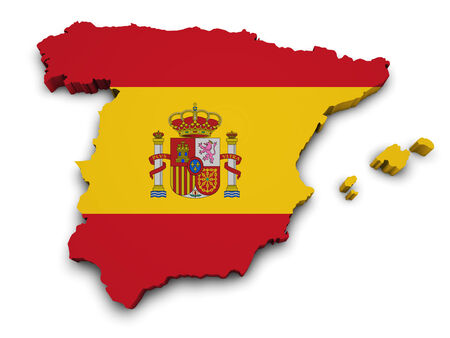 flag spain: Shape 3d of Spain map with flag isolated on white background  Stock Photo