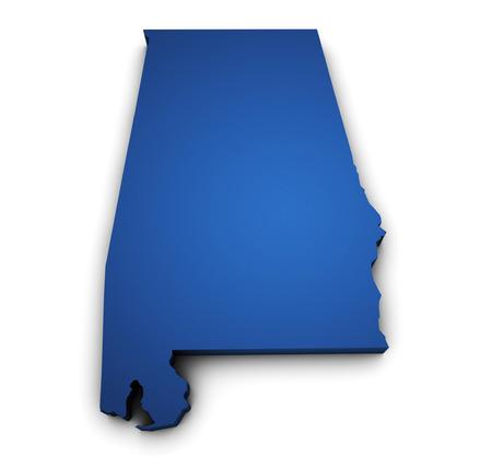 アラバマ州地図青色に、白い背景で隔離の 3 d を形状します。