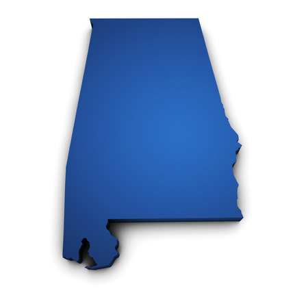 Shape 3d of Alabama State map colored in blue and isolated on white background  Stock Photo