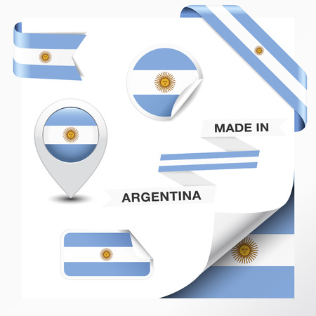 buenos: Made in Argentina collection of ribbon, label, stickers, pointer, badge, icon and page curl with Argentinian flag symbol on design element   Illustration