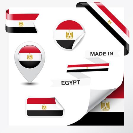 bandera de egipto: Hecho en Egipto colecci�n de la cinta, etiquetas, pegatinas, puntero, insignia, icono y enrollamiento de la p�gina con el s�mbolo de la bandera egipcia en el elemento de dise�o
