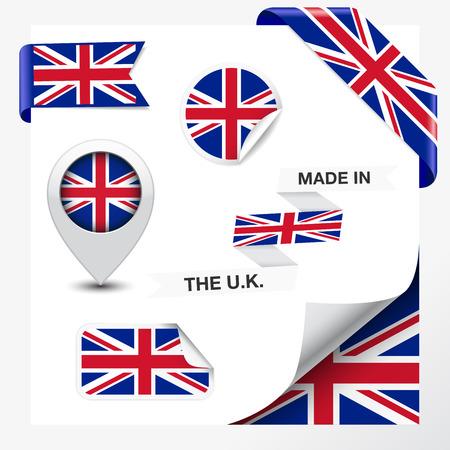 Hecho en Reino Unido La colecci�n de la cinta, la etiqueta, etiquetas engomadas, puntero, insignia, icono y enrollamiento de la p�gina con bandera de Reino Unido y la uni�n s�mbolo de toma de entrada de elemento de dise�o