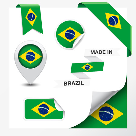 Made in Brazil collection of ribbon, label, stickers, pointer, badge, icon and page curl with Brazilian flag symbol on design element Illustration
