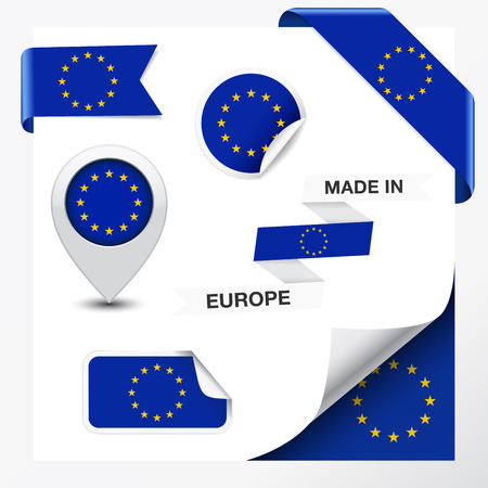 Made in Europe collection of ribbon, label, stickers, pointer, icon and page curl with EU flag symbol on design element