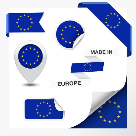 Made in Europe collectie lint, etiket, stickers, wijzer, pictogram en pagina krullen met de EU-symbool vlag op design element