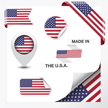 Made in The USA collection of ribbon, label, stickers, pointer, icon and page curl with United States Of America  flag symbol on design element   Vector