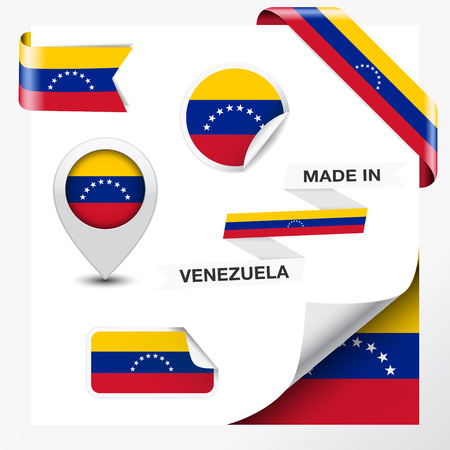 venezuelan flag: Made in Venezuela collection of ribbon, label, stickers, pointer, badge, icon and page curl with Venezuelan flag symbol on design element  Vector EPS 10 illustration isolated on white background  Illustration