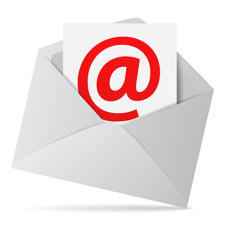 Internet and web business contact us concept with an email envelope and red at symbol on a paper sheet