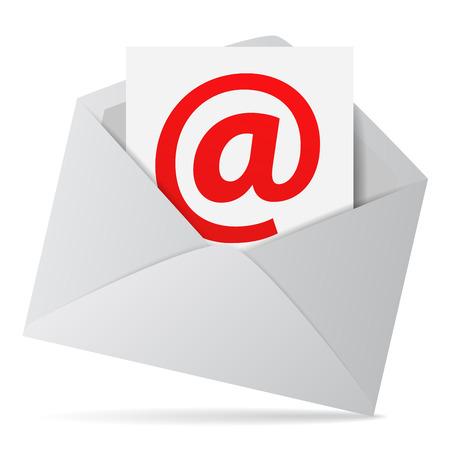 email us: Internet e business web contattarci concetto con una busta e-mail e rosso simbolo su un foglio di carta Vettoriali