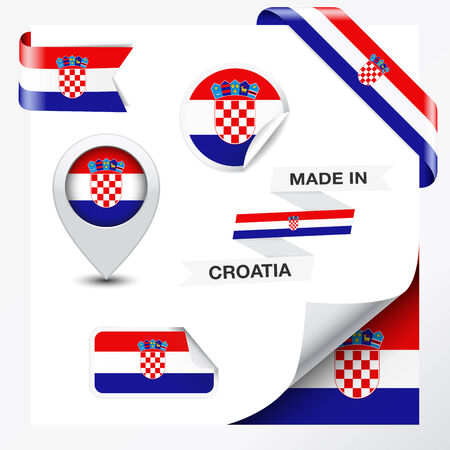 croatia flag: Made in Croatia collection of ribbon, label, stickers, pointer, badge, icon and page curl with Croatian flag symbol on design element