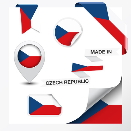 Made in Czech Republic collection of ribbon, label, stickers, pointer, icon and page curl with Czech flag symbol on design element Vector