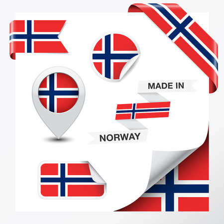 Made in Norway collection of ribbon, label, stickers, pointer, badge, icon and page curl with Norwegian flag symbol on design element  Vector