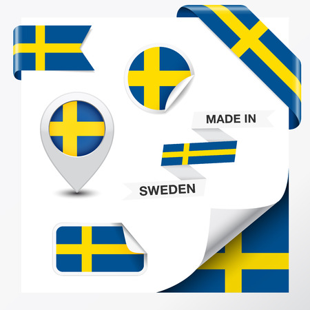 sweden flag: Made in Sweden collection of ribbon, label, stickers, pointer, badge, icon and page curl with Swedish flag symbol on design element