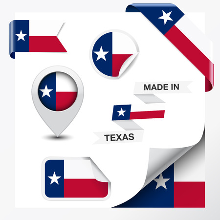 Made in Texas collection of ribbon, label, stickers, pointer, badge, icon and page curl with Texan flag symbol on design element  Vector