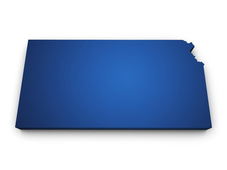 Shape 3d of Kansas map colored in blue and isolated on white background  photo
