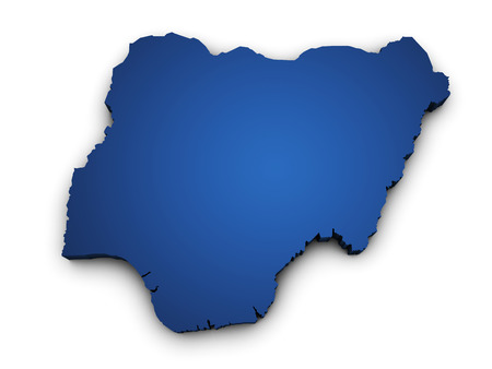 nigeria: Shape 3d of Nigeria map colored in blue and isolated on white background  Stock Photo