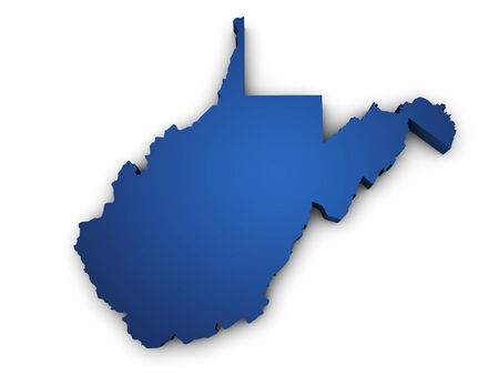 Shape 3d of West Virginia map colored in blue and isolated on white background