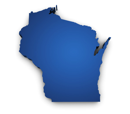 madison: Shape 3d of Wisconsin map colored in blue and isolated on white background
