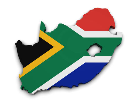 south africa map: Shape 3d of South Africa map with flag isolated on white background  Stock Photo