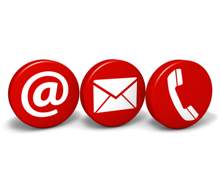 contact info: Web and Internet contact us concept with email, at and telephone icons and symbol on three red round buttons isolated on white background