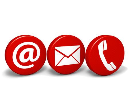 Web e Internet en contacto con nosotros concepto con el correo electr�nico, a las y los iconos de tel�fono y s�mbolo de tres botones redondos de color rojo aisladas sobre fondo blanco Foto de archivo