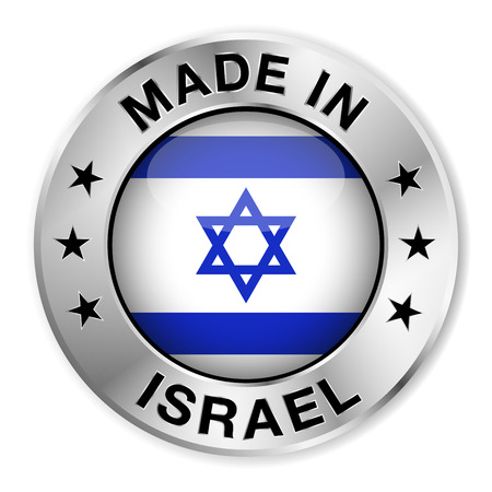 Made in Israel silver badge and icon with central glossy Israeli flag symbol and stars  Vector