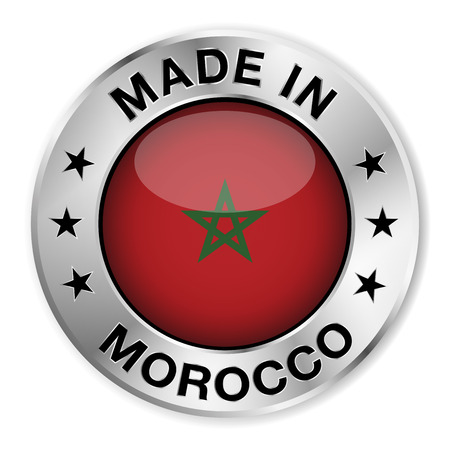 made in morocco: Made in Morocco silver badge and icon with central glossy Moroccan flag symbol and stars