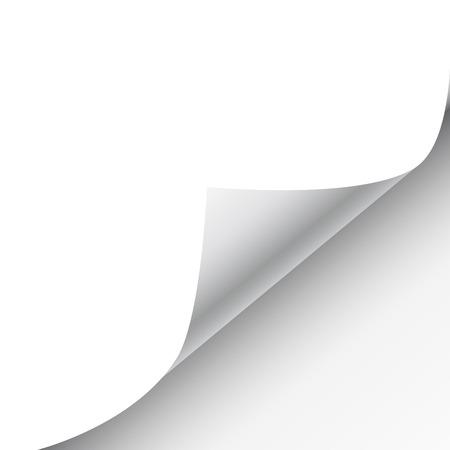 Feuille de papier vierge avec page curl et de l'ombre, élément de design pour la publicité et le message promotionnel isolé sur fond blanc