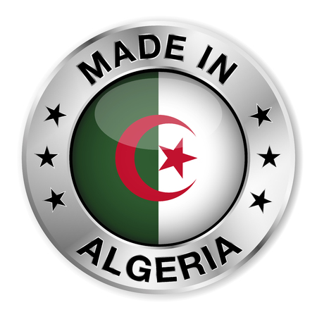 Made in Algeria silver badge and icon with central glossy Algerian flag symbol and stars  Vector
