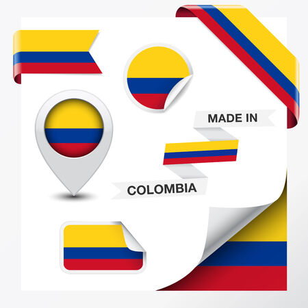 colombia flag: Made in Colombia collection of ribbon, label, stickers, pointer, icon and page curl with Colombian flag symbol on design element
