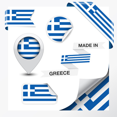 greek: Made in Greece collection of ribbon, label, stickers, pointer, icon and page curl with Greek flag symbol on design element Illustration