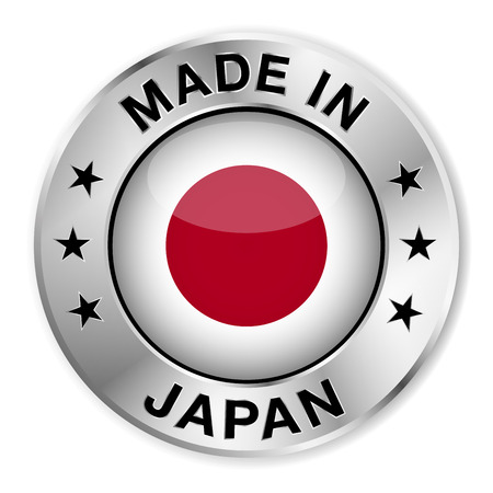japanese flag: Made in Japan silver badge and icon with central glossy Japanese flag symbol and stars